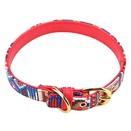 Cuello de Perro Fuerte Ajustable Impreso Lienzo Suave Collares de Perro para Mascotas Suministros(Rojo - L)