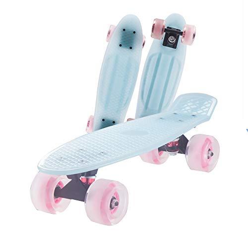 ZWBTY Mini-Skateboard, 22-Zoll-Allrad-Longboard, Retro-Cruiser-Kunststoff-Mini-Skateboard, Skateboard Für Anfänger, Kinder, Mit LED-Blinkrädern Für Outdoor-Sportstraßen, rutschfest,Blau,Light