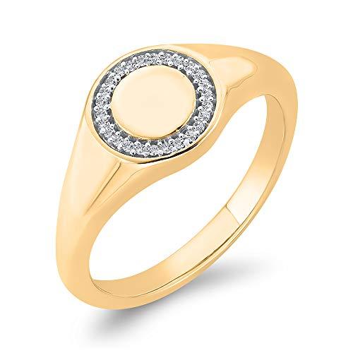 Diamond Fashion - Anillo para hombre en oro amarillo de 14 K (color JK, SI2/I1-Clarity) (1/6 quilates) (tamaño 8)