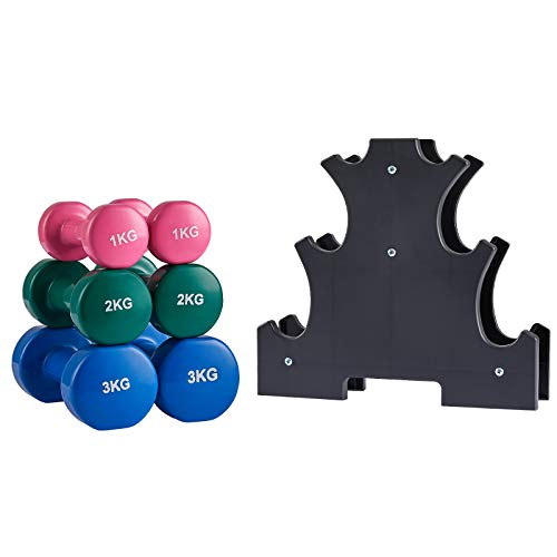 Albott Kurzhantel Set, Kurzhanteln mit Hantelständer, 2 x 1 kg, 2 x 2 kg, 2 x 3 kg, Neopren-Beschichtung, Krafttraining, zu Hause