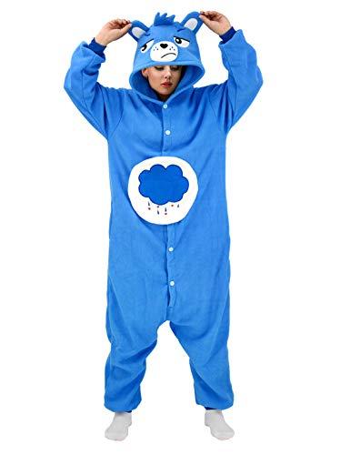 Adult Blue Bear Pajamas Care Costume Halloween Animal Cosplay Christmas Homewear Sleepwear for Women and Men