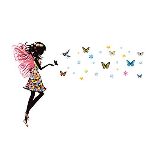 VORCOOL Schmetterling Fee Wandaufkleber abnehmbare Mädchen Baby Schlafzimmer Wandtattoos TV Hintergrund Wohnzimmer Wanddekoration