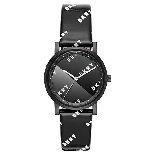 DKNY - Soho Analoge Quarzuhr mit schwarzem Lederarmband für Damen NY2805