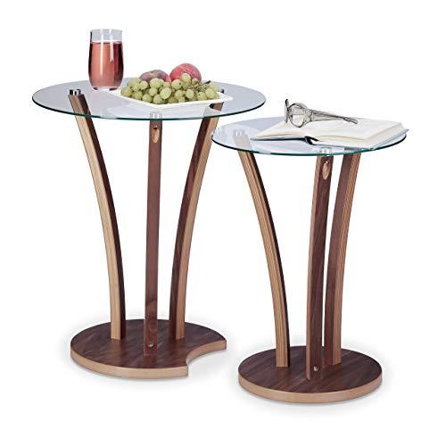 Relaxdays Beistelltisch rund 2er Set, Glastisch mit Holzbeinen, 2 kleine Satztische, modernes Design, 2 Größen, natur