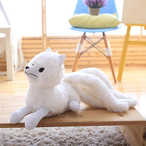 Mr Tree 1 PC 56×26 cm Nine-Tailed White Fox Stuffed Toys Plush Fox Animals Dolls Comfort Pillow Sleeping Soft Embrace Toys for Children,22''×10''