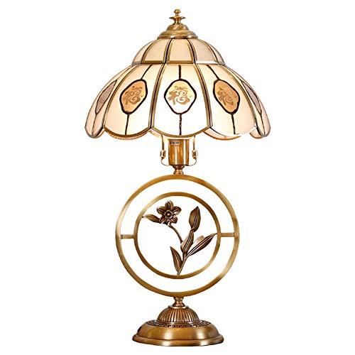 WFL-bureaulamp tafellamp slaapkamer nachtkastje knop schakelaar hotel model kamer showroom glas lampenkap H65 messing warm romantisch