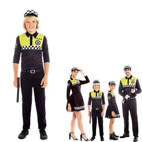 Partilandia Disfraz Policía Local Niño Niña Hombre Mujer con Gorra【Tallas Infantiles y Adulto】 Disfraz Carnaval Familia Profesiones Uniforme Policía Desfiles Teatro Actuaciones Regalo