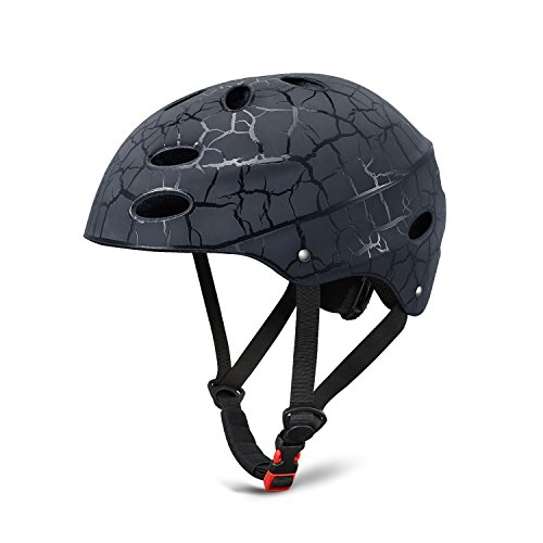 Kuyou Kids Skateboard Helmet Scooter Helmet Protective Gear Roller Skating Scooter Cycling Bike Helmet Adjustable Size for 3-10 Year Old Youth Boys and Girls(Black/Red/Blue, 52-56cm)