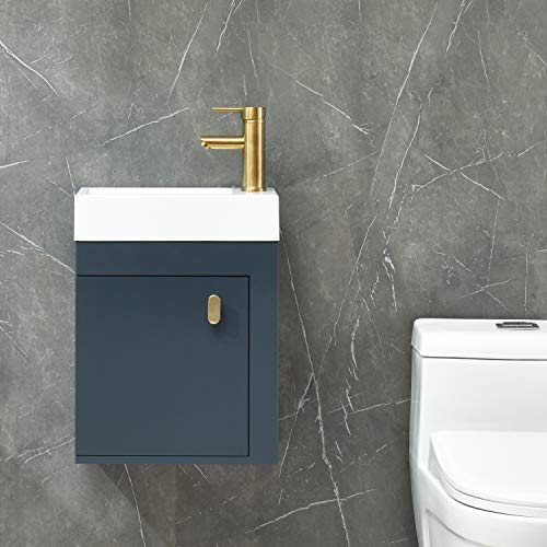 YOURLITE 16 inch Wall Mounted Floating Bathroom Vanity Sink Set Blue Cabinet with Golden Copper Faucet and Pop Up Drain,PVC Cabinet Sink Combo for Small Bathroom