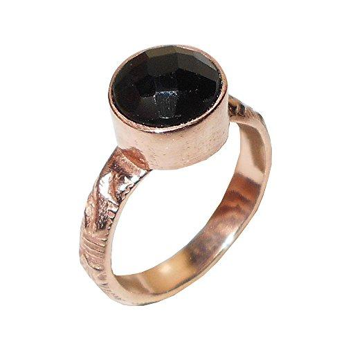Bhagat Jewels 18K Rose Oro Vermeil latón Negro Onyx Gemstone Anillo para Las Mujeres