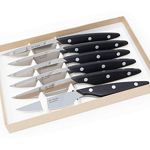 Coffret 6 couteaux steaks brasserie Noir Set de 6 couteaux de table multi-usage haute qualité en inox Couteau à viande, à pizza ou pour la découpe de vos légumes Ensemble de couteaux cuisine de chef