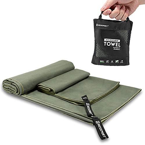 Bessport Mikrofaser Handtuch/4 Größen- Saugfähig, Ultraleicht, Antibakteriell, Schnelltrocknend Sporthandtücher | Reisehandtücher | Badehandtücher | Ideal für Reisen, Fitness, Yoga (M+XL-Grün)