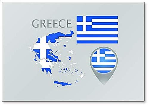 Kühlschrankmagnet mit Flagge, Kartenzeiger & Karte von Griechenland in den Farben der griechischen Flagge