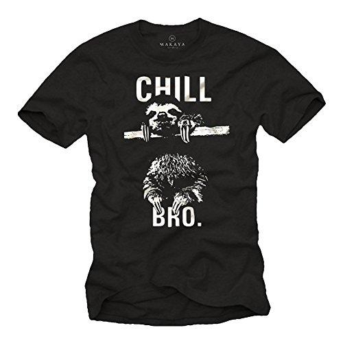 Cooles Hipster T-Shirt mit Faultier für Herren CHILL BRO. schwarz Größe S
