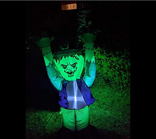 5FT Inflatable Halloween Ghost with The Green FACE Halloween Inflatable Frankenstein Monster,Blow up Lighted Yard Decor LED Lights Decor Outdoor Indoor Holiday Decorations