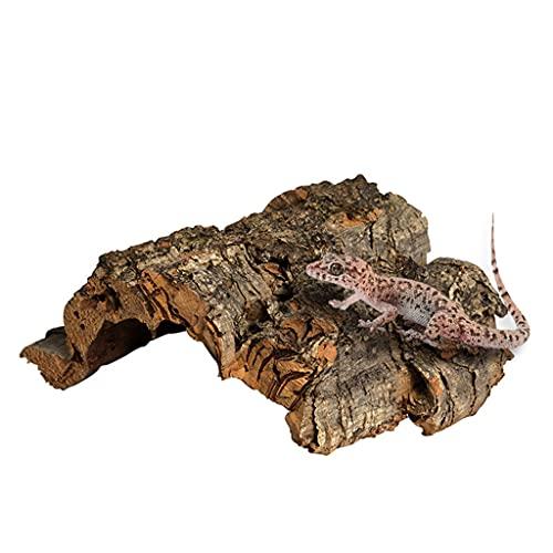 BOBEINI Reptil Escalada Corteza de Corcho Árbol Natural Madera Hábitat Lagarto Araña Pequeño Animal Ocultar Terrarios Paisajismo Gris
