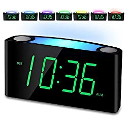 Alarm Clock, Large Number Digital LED Display with Dimmer, Night Light, USB Phone Charger, Big Snooze, Easy to Set for Kids Seniors, Loud Bedroom Clock for Heavy Sleepers Teen, Home Office Desk Travel