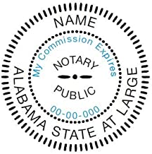 Round Notary Stamp for State of Alabama - Self Inking Stamp