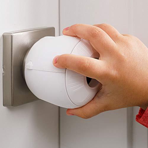 Child Safety Door Knob Cover (4 Pack) Hard-to-Remove Dual-Lock Door Handle Covers for Kids - Reusable Baby Proof Door Knob Locks - Installs Easily, No Tools Needed