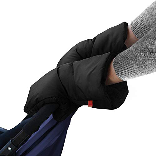 Guantes de Silla de Paseo, otumixx Guantes para cochecito con forro polar Impermeable Caliente a prueba de viento Manoplas para cochecitos coches eléctricos manillar de bicicleta - Negro