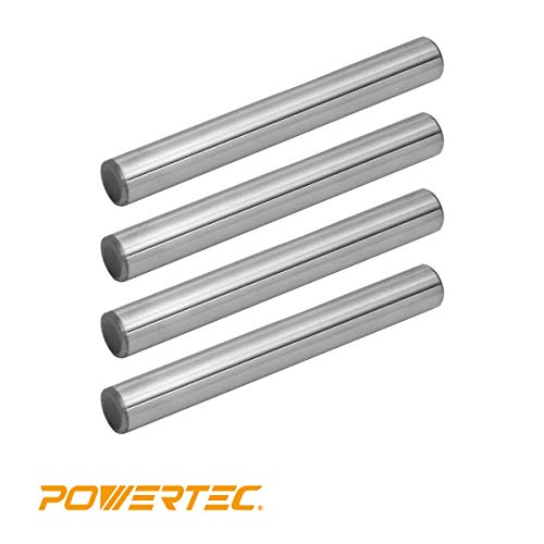 POWERTEC 71145 Hardened Steel Dowel Pins 3/8-Inch, Heat Treated and Precisely Shaped for Accurate Alignment, 4 Pack