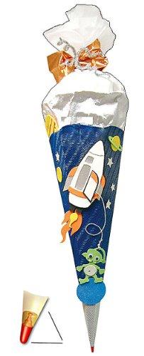 alles-meine.de GmbH BASTELSET Schultüte - Weltraum 85 cm - mit Holzspitze - Zuckertüte Roth - ALLE Größen - 6 eckig Space Jungen Weltall Rakete Planeten Stern All Raumschiff