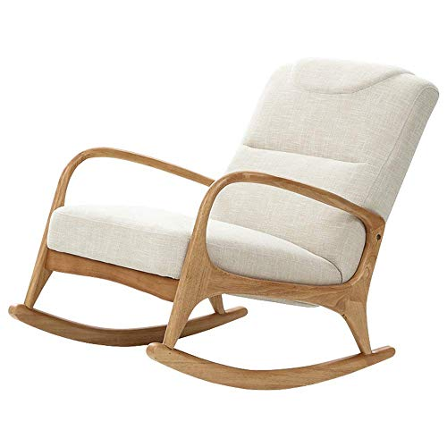 LLSS Modern Rocking Chair, Thick Padded Solid Wood Rocking Chair Comfortable Relax Chair with Solid Wood Base