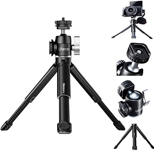 HAFOKO U-Vlog Lite Extend Mini-Stativ,Doppelte Kaltschuh-Kugelkopfhalterung für LED-Licht/Mikrofon,kompatibel mit Smartphone DSLR-Kamera Vlog (Ladekapazität 2 kg)