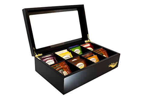 Buy Bargain The Bamboo Leaf Tea Box Storage Organizer for Tea Collections, 8 Compartments w/Glass Wi...