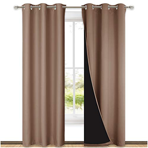NICETOWN 100% Blackout Curtains Thermal, Noise Cancellation and Privacy Truly Blackout Curtains for Patio Door, Black Lined Blackout Drapes with Grommet Top, Cappuccino, 1 Pair, W42 x L84