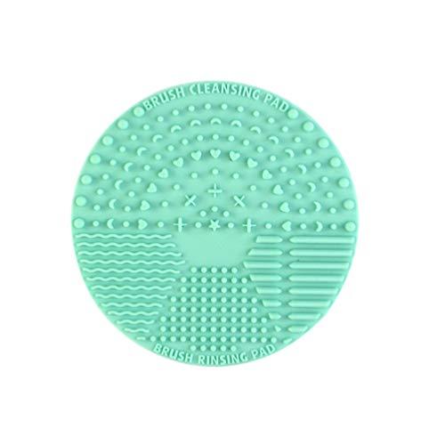 Solustre Tapis de Nettoyage pour Pinceau de Maquillage Nettoyant pour Pinceau Cosmétique avec Ventouse Tampon de Nettoyage pour Brosse Ronde en Silicone (Vert)