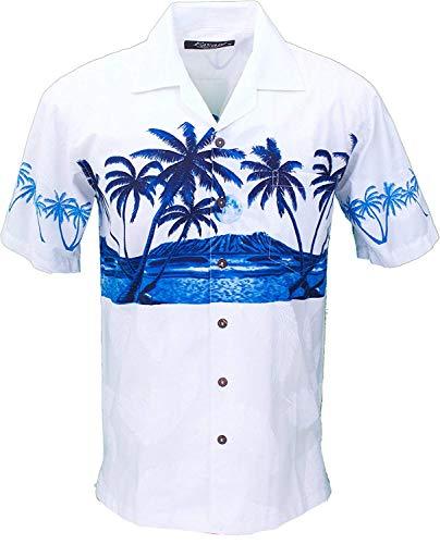 Men's Hawaiian Aloha Tropical Luau Beach Palm Tree Print (Medium, White)