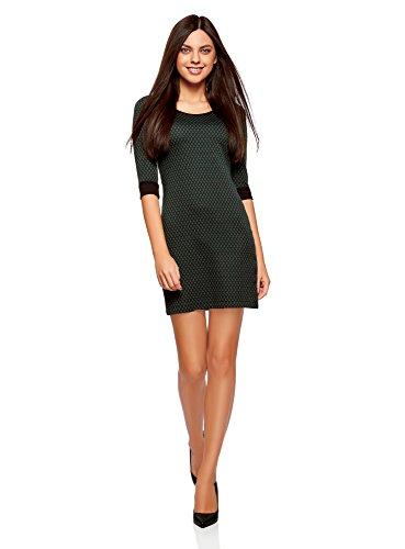oodji Ultra Damen Jacquard-Kleid mit Geometrischem Muster, Grün, DE 34 / EU 36 / XS