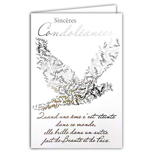 Afie 64-1074 Carte Sincères Condoléances avec enveloppe blanche Texte Argenté qui brille Colombe Paix âme