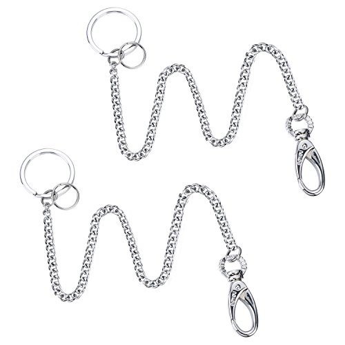 BOYOU 2 Pieces Long Keychain Long Chain Keyring Key Ring with Belt Clip, approx. 37.5 cm