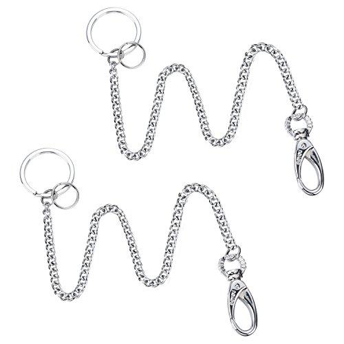Shappy 2 piezas Largo llavero largo cadena llavero llavero con clip para cinturón, aprox. 37,5 cm
