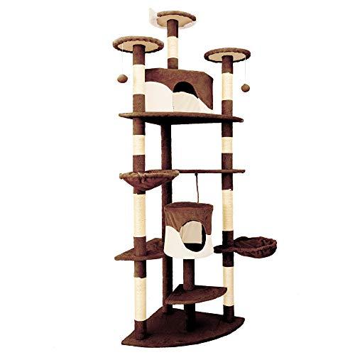 IPOTOOLS Katzenbaum für Grosse Katzen Stabil - Kratzbaum Deckenhoch Katzenkratzbaum Groß Stabil mit Plüsch Höhlen, Sisal Säulen, Liegemulden und Spielkordeln 204 cm (Beige-Braun)