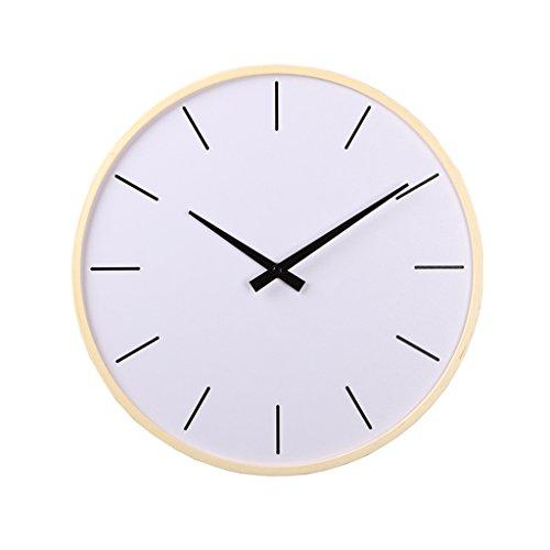 Horloges en Bois Murale Rond et Montres Moderne Style Convient pour Le Salon et la Chambre Muet Silencieux (Color : Blanc, Size : 36cm (14inch))