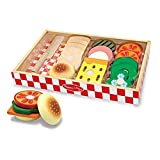 Toy Kinder Küche Play, Küchenzubehör, Sandwich-Making-Set (Holzspiel Lebensmittel, Holzlagerfach, Hochwertige Materialien, 16 Stück)