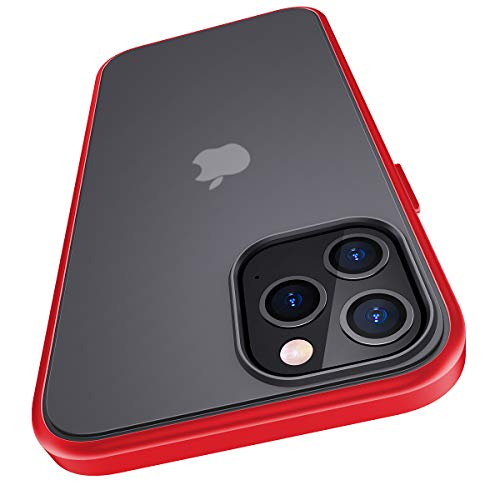 Meifigno Compatible with iPhone 12 Pro Max Case, [Military Grade Drop Tested], Translucent Matte PC with Soft Edges, Shockproof Phone Case Designed for iPhone 12 Pro Max 6.7inch (2020), Red