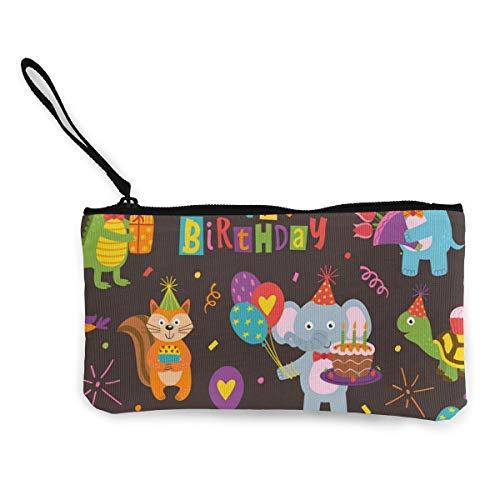 N/C Nahtloses Muster mit lustigen Tieren, Happy Birthday, niedliches Segeltuch, Münzbeutel, Reißverschluss, Handschlaufe, Make-up-Federmäppchen, personalisierbar