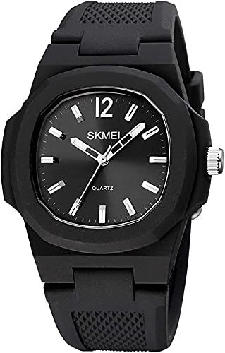 QHG Reloj de Lujo Reloj Casual Puntero Tiempo 50M Relojes Deportivos Impermeables Cuadrados Reloj de Pulsera de Cuarzo Cuadrado Reloj Negro (Color : Blacksilver)