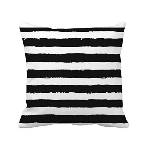 N\A Cuadrado de la Cubierta de la Almohada del Tiro Interior al Aire Libre de Las Rayas Blancas Negras