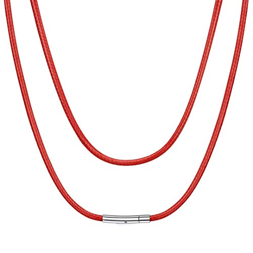 ChainsHouse Collar de Cuero Cordon para Colgante Collares Rojas Mujer Hombre, 51cm Largo 3mm Ancho Collares de Piel