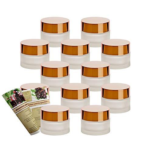 gouveo Set di 12 vasetti vuoti da 30 ml in vetro opaco con tappo a vite in oro e opuscolo, per creme, barattoli, barattoli, mini bicchieri