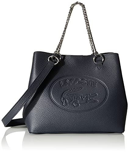 Lacoste Women's Leather Croc Chain Top Handle Shoulder Bag, Peacoat Blue
