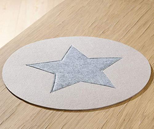 2 x Set de table rond Felt beige avec dunkelgrauem étoile