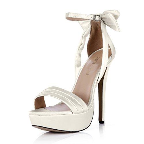CHMILE Chau-Zapatos para Mujer-Sandalias de Tacon Alto de Aguja-Talón Delgado-Sexy-Novia o Dama-Boda-Nupcial-Vestido de Fiesta-Pajarita-Correa de Tobillo-Plataforma 3cm