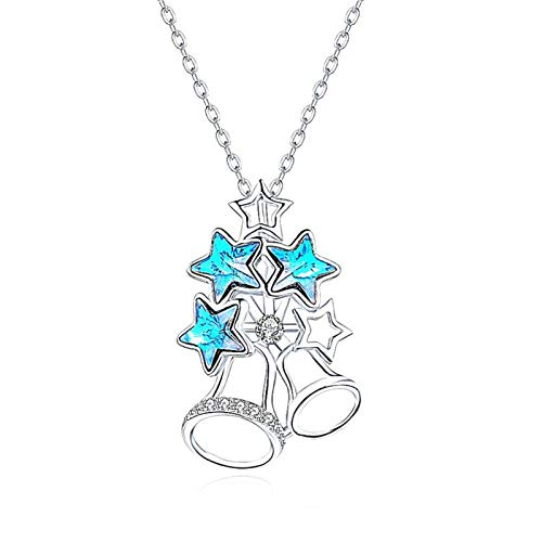 xinmeng 925 Sterling Silver Jewelry Little Five Stars Crystal Pendant Necklace Romantic Style Birthday Present