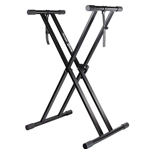 RockJam Xfinity Heavy-Duty, Double-X, Pre-Assembled, Infinitely Adjustable Piano Keyboard Stand with Locking Straps (Renewed)